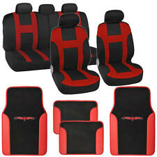 "Seat Cover for Car SUV ""Monaco "" Racing Style Stripes Red with Vinyl Mats"