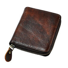 Men Genuine Real Leather Cowhide Card Holder Money Wallet Zipper Purse For Male