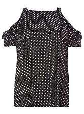 Dorothy Perkins Black Polka Dot Cold Shoulder Top.  Size 10.  SA077 PP 20