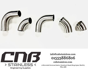 90 & 45 DEGREE STAINLESS ELBOWS BENDS 304 316 1D ISO 3A RADIUS EXHAUST MANDREL
