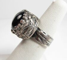 Vintage Chunky Sterling Silver Brutalist Setting Black Onyx Ring Sz 6.5 Israel
