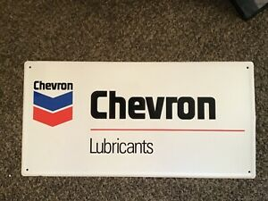 Chevron lubricants metal sign manufactured in canada 32x16