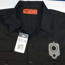 NEW NWT DICKIES EMBROIDERED KICK ASS HAND GUN PISTOL SHOOTING WORK SHIRT Sz XXL