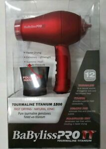 BaBylissPro Tourmaline Folding Travel Dryer 1000 Watt-Red