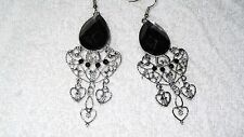 Black Stone Chandelier Dangle Bollywood Exotic Pair of Earrings Jewelry Fashion