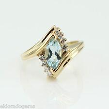 Anello di design 1.25 ct. taglio Marquise ACQUAMARINA 0,25 ct Diamante 14K