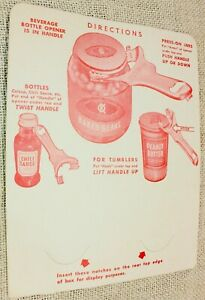 Vintage Pry-A-Lid Store Display Cardboard Instructions for old Mason Jar Opener