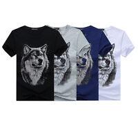 Wolf Cool Men Tees Cotton 3D Print Men's T-shirt Summer Short Sleeve Tops