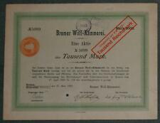 Bremer Woll-Kämmerei 1920 1000 Mark NL-Steuerstempel