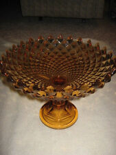 """Large Amber Westmoreland Diamond Point Compote Sawtooth Edge 12"""" in Diameter"""