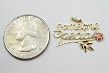 Women's Someone Special Pendant 14k Solid Multi-Tone Gold With Rose Bud Italy