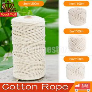 3/4/5/6mm Cotton Rope Twisted Cord Artisan Macrame String Craft Natural Beige UK