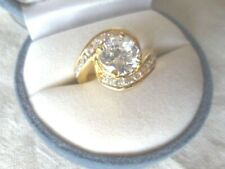 Vintage Jewellery Yellow Gold Ring White Sapphires Antique Deco Jewelry small