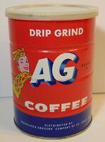 Old Vintage 1960s AG COFFEE MAN GRAPHIC 1 POUND COFFEE TIN St. Louis Missouri MO