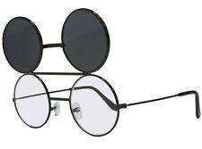 Smoke Dwayne Wayne Glasses Round Flip Up Sunglasses Black Frame 90's