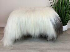 XXL White Black / Icelandic Rug / Genuine Sheepskin / Fur Throw / Long Wool