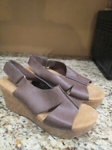 Comfort Plus by Predictions Brown Wedge Sandals 8W