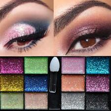 12 Color Lady Warm Sparkle Glitter Makeup Cream Eyeshadow Brush Palette Party UK
