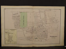 New York Long Island Map 1873 Woodhaven, Queens County Double Page N3#73