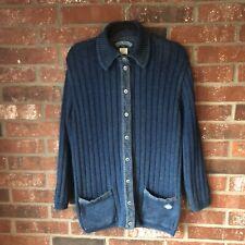 Blue Willi's Denmark Indigo Cotton Denim Trim Size Large Women's Button Sweater