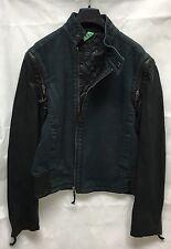 Women's Heavy Canvas Fabric& Leather Blue/Black Jacket. Detachable Arms. UK 10.