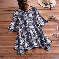 ZANZEA Women Summer Top Tee Shirt Loose Baggy Ladies Retro Printed Floral Blouse