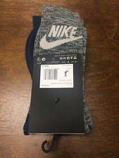 Nike Socks Long Tick Gray Blue Mens Size L 8-12, Two Pairs New