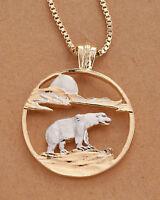 """Polar Bear Pendant and Necklace, Hand Cut Polar Bear ,1 1/4"""" in Dia., ( # 881 )"""