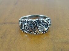 Leaf leaves with design Band Sterling Silver 925 Ring Size 8 1/2