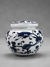 """Chinesische Teedose Porzellan """"Blätterkomposition"""", Keramik mit Aromaverschluss"""