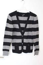 Damen Weste Jacke Strickjacke grau schwarz gestreift Wolle von H&M in  M  38 40