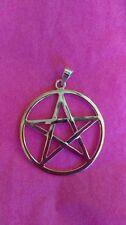 "Large solid sterling silver Pentacle, Pentagram, 1 1/2"" Pagan, Wiccan, Goth,"