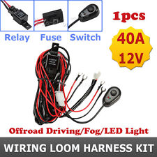 OFFROAD FOG LED WORK LIGHT BAR WIRING LOOM HARNESS KIT FUSE RELAY SWITCH CABLE