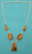 """925 Sterling Silver Necklace With Natural Tiger's Eye 21"""" Long Overall  (nk1701)"""