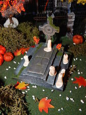 Halloween TOMBSTONE Celtic CROSS w/ CANDLES on STeps, cemetery GAMING, Dept 56