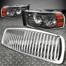 FOR 02-05 DODGE RAM CHROME FRONT GRILL+BLACK HEAD LAMPS LIGHTS AMBER REFLECTOR