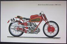 Poster MOTO GUZZI Bicilindrica 500 (1947) Omobono Tenni Gianni Bertolini