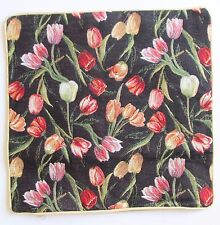 Tulip Black Design Tapestry Cushion Cover Signare - Set of 2 Matching Covers