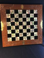 Vintage Oriental Asian Chinese Chess Set w/carved Soapstone Pieces 8 Immortals