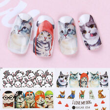 4x Cute Animals Water Decals Cat Dog Rabbit Bunny Nail Art Transfer Stickers