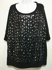 Lane Bryant Womens 26/28 Black Silver Sequins 3/4 Sleeve Pullover Top Scoop Neck
