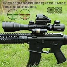 Pinty 4-12X50Eg Rangefinder Reticle Riflescope Laser&20mm Rail Dot Sight Scope