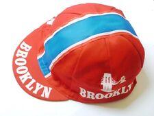 Brooklyn retro CICLISMO BIKE CAP-VINTAGE-attrezzo fisso-MADE IN ITALY (ROSSO)
