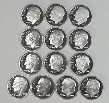 1999-2008 2009-2011 CLAD PROOF DCAM ROOSEVELT DIMES 13 coin set