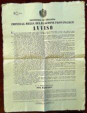 G43-LOMBARDO VENETO, BELLUNO, AVVISO, IDROFOBIA CANINA, 1855