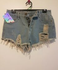 Womens Blue Denim Ripped Mini Shorts, Size Small