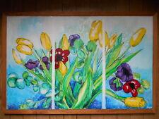 Tableau Acrylique sur toile nature morte Bouquet de tulipes 84,5cm x 55,5cm