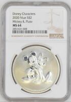 2020 NIUE $2 MICKEY MOUSE & PLUTO - NGC MS64 - SILVER COIN