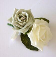 Silver Artificial Wedding Flowers - Brides Bouquet - Bridesmaid - Buttonhole