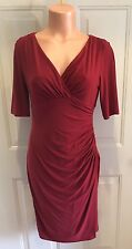Lauren, Ralph Lauren Dress, Size 6, Burgundy, Faux-Wrap Bodice, Dress w Ruching